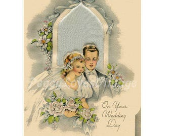 Wedding 24 a Beautiful Bride and Groom with White Roses a Digital Image from Vintage Greeting Cards - Instant Download