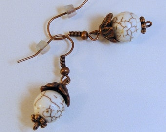 Copper Leaf Capped White Turquoise Earrings