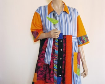 2X to 3X  Happy Color Tunic Dress