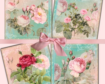 Instant Download - Spring Blooms Coaster Images  -  Collage Sheet - Printable Download - Gift Tags - Scrapbook