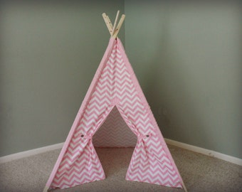 Pink Teepee Pink chevron with matching sleeves tee pee tent play forts