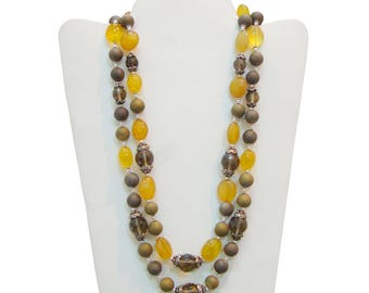 Lovely Yellow Chalcedony & Smoky Quartz Handmade Double Strands 925 Sterling Silver Necklace For GIFT