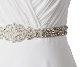 Long Bead Rhinestone Crystal embellishment Wedding Dress Sash/ Bridal Sash