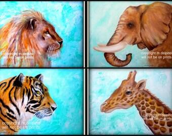safari nursery, jungle nursery, zoo painting prints, animal nursery painting prints, set of safari prints lion tiger elephant giraffe art