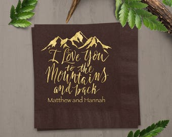 Mountain Wedding Personalized Cocktail Napkins, 100 Mocha Beverage Napkins, Gold Foil Imprint Design Personalized With Couples Names