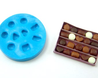 Polymer Clay Mold // Flexible Silicone Dollhouse Chocolates Candies in 1:12 Scale // Flexible Silicone Mold