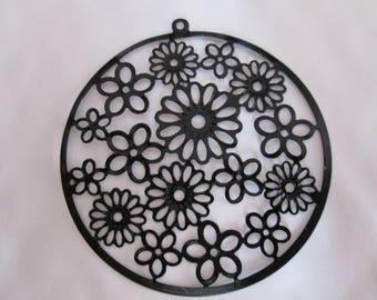 2 55mm filigree flower pattern black prints