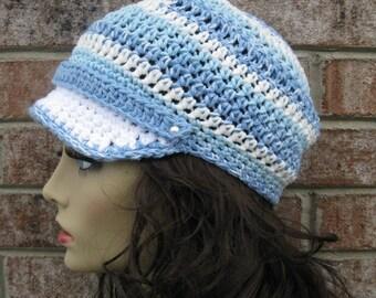Newsboy CAP in Blue White Hat, Brim Hat all season, Crocheted Knit Hat, Newsboy Visor Hat, Cap Driver Hat, Fashion Hat, Brim Hat, Chemo Hat