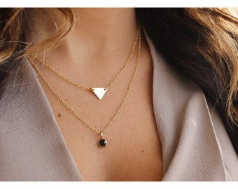 gold layered necklace • gold necklace • layered gold • personalized gold triangle necklace • 14K gold filled • layered gold necklace • B133