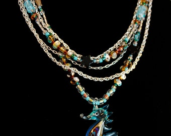 Blue Seahorse Layered Necklace