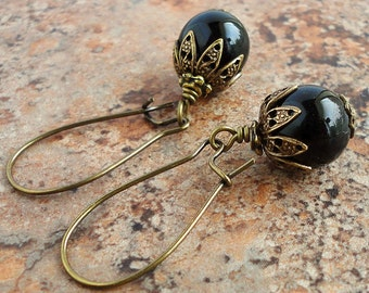 Black Onyx Earrings in Antiqued Brass, Kidney Earwires, Handcrafted Gemstone Jewelry
