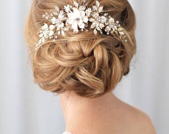Gold Braut Haarkamm, Floral Gold Haare kämmen, Gold Kopfschmuck, Gold Braut zurück Kamm, Blumen Braut Haarkamm, Braut Kopfschmuck ~ TC-2303