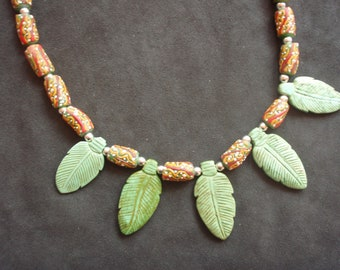 Jade Leaf African Bead Necklace