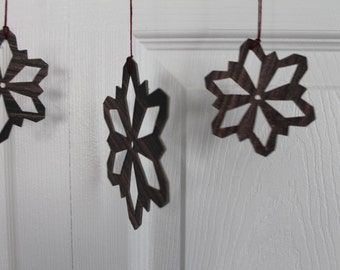10 dark woodgrain paper covered chipboard large/small Snowflake diecuts use as ornaments, garlands+