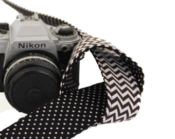 SLR, DSLR Camera Strap - Black and White Chevron lined with Black and White Polka Dots by Howard Avenue