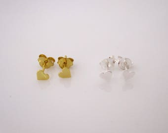 Small heart yellow gold or sterling silver stud earrings, love studs