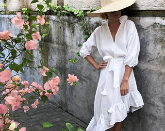 Ava Linen Dress - Women's Luxury Linen Dress with Plunging Neckline, Blouson Sleeves and a full Asymmetrical Frilled Skirt finish