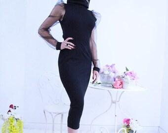 black midi dress, open back black dress, little black dress, pencil dress, midi dress, calf length dress, turtleneck dress, backless dress