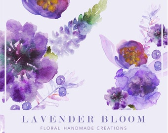 Lavender Hand-painted Watercolor Floral Clipart // Watercolor Digital Art//