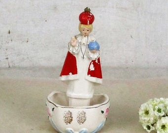 Porcelain Standing hanging Holy Water Font Little Infant of Prague Santo Nino