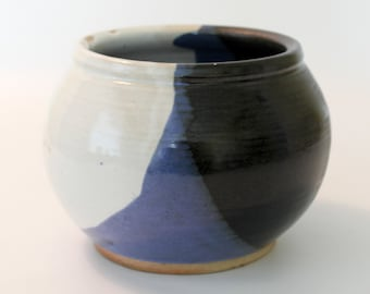 Wood Fired. Stoneware Pottery Vase. Large.  Blue, White, Black. Cobalt Blue. Snow White. Glossy Black. Charcoal Gray. Earthy. Rustic. OOAK