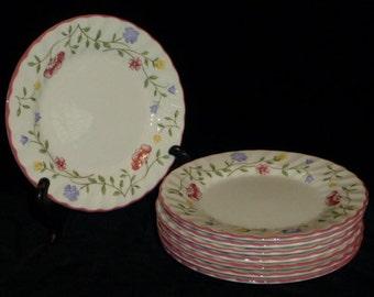 """Johnson Brothers SUMMER CHINTZ, Set Of 8 Bread & Butter / Dessert 6 1/4"""" Plates, Made In England, A+ Vintage Condition"""
