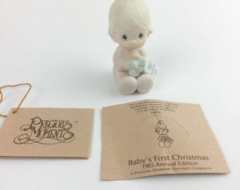 Vintage Precious Moments Baby's First Christmas Special 1985 Issue Ornament Figurine 15911