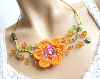 Orange crochet Flower necklace