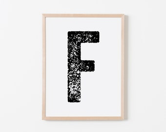 Press F Nursery Art. Nursery Wall Art. Nursery Prints. Nursery Decor. Personalized Wall Art. Monogram Art. Black Letter Wall Art.