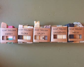 SOAP TRILOGY - Soap Sampler, Soap Samples, Soap Sample Pack, Mini Soaps, Mini Soap Bar, Gift for Her, Gift for Him, Natural Organic Soap