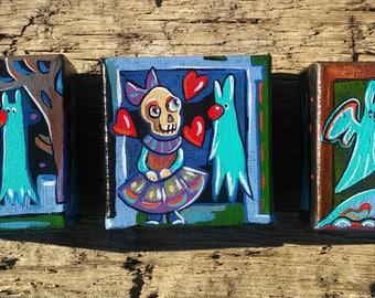 Miniature paintings, ghost,bunny rabbit,fantasy art, skull, art,cute,collection set,gift, birthday,love friendship,little girl,gothic