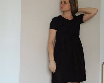 Bimaterial black silk and jersey dress