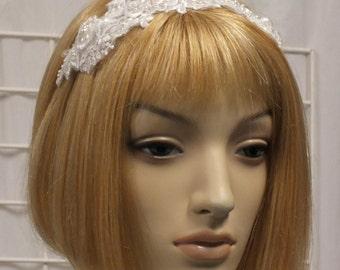 White Lace Bridal Head Piece Wedding Veil Alternative Headband