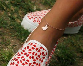 14K Gold Bunny Anklet / Gold Anklet Available in 14k Gold, White Gold or Rose Gold