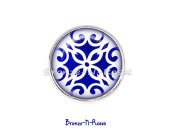 Ring * cobalt blue ornament * cabochon silver flowers