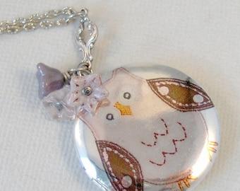Pink Owl Locket,PInk Locket,Pink Necklace,Mom Necklace,Owl Necklace,Owl locket Owl photo locket,owl locket art,owl necklace,valleygirldesign