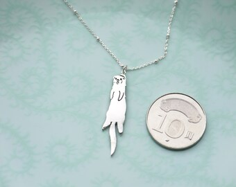 925 Sterling Silver【Ferret cut silhouette Necklace / Charm】I get you!! (Handmade)
