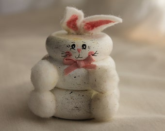 Wooden Stacked Rabbit Decoration