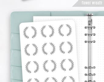 FW05 | Flower Wreath Sticker | Decorative Sticker | Date Stickers | Planner Stickers | Bullet Journal Stickers