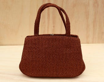 Julius Resnick Brown Tweed Handbag with Leather Interior for his JR Florida Line Circa 1960s