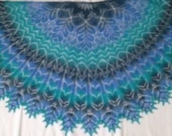 Handknit wool shawl/semicircular shawl/stylish accessory/lacy shawl/warm wrap/beautiful shawl