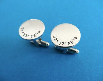Coordinates Cufflinks - Latitude Longitude Cuff links - Personalized Cufflinks