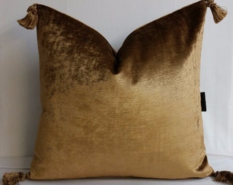 Shiny bronze brown velvet throw pillow, tassels, 16 inches square upholstery weight cushion