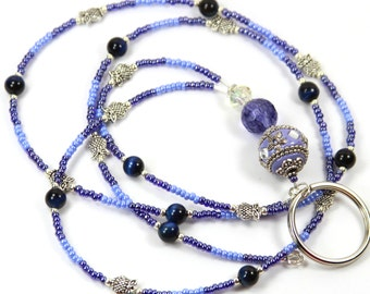 LAVENDER BEAUTY - Beaded badge Holder, Beaded Lanyard, Purple Lanyard