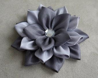 Gray Kanzashi Brooch, Jewellery, Satin Fabric Brooch, Custom Brooch, Folded Silk Brooch, Ribbon art, Japanese Flower, Woman Accessory.
