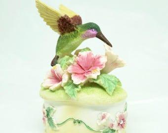 "Hummingbird; Ring/Trinket Box; 4""h x 2.5""w; Composite Material; Rhinestones; FREE SHIPPING !!!"