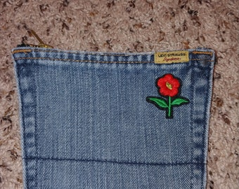 Denim Zipper Pocket (Flower Power)