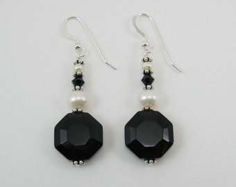 Black Onyx and Pearl Earrings (E73)