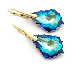 Baroque Bermuda Blue Earrings Swarovski Earrings Crystal Drop Simple Gold Earrings Modern Turquoise Earrings Bridal Earrings Gold Jewelry