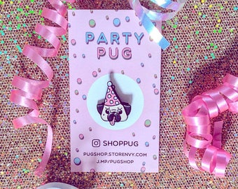 Party Pug Soft Enamel Pin, Pug in a Party Hat, pug enamel pin, dog enamel pin, kawaii pin